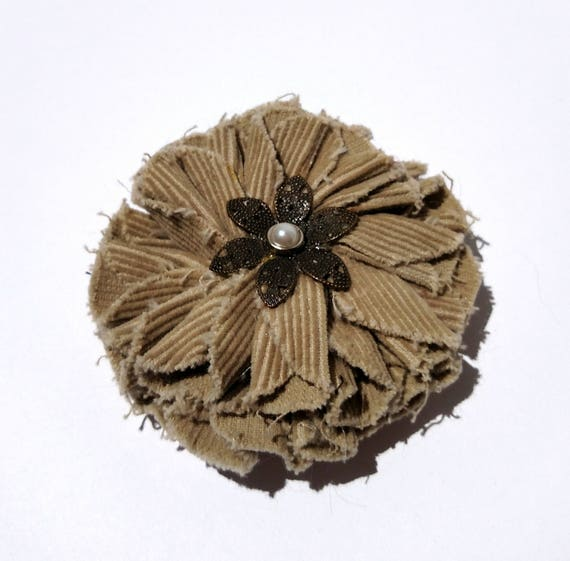 Recycled Vintage Fabric Flower Clip - Khaki Corduroy - Brass and Pearl Center
