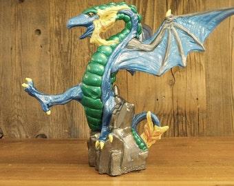 Colorful ceramic DRAGON Mystical midevil Fantasy Ceramic Dragon