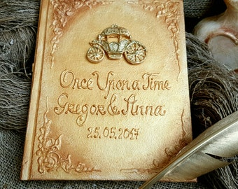 Rustic Wedding Guest book set, Fairy tale wedding, guest book with names and date, once upon a time guest book, gold wedding carriage,