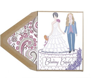 Blushing Brides - Congratulations, Wedding Card, Lesbian, Engaged, LGBT, for her, wife, girlfriend, same sex