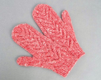 Knitted Wool Mittens, Women's Mittens, Pink Mittens, Gloves with Cable Pattern, Winter Gloves