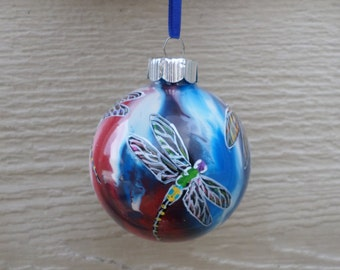 Hand painted ornament, Dragonfly Ornament, red white and blue ornament 333