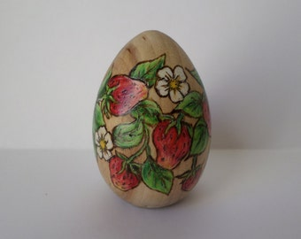 Strawberry Easter egg, paperweight,  wood egg, pyrography, wood burning art
