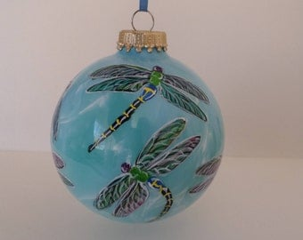 Hand painted  large  dragonfly ornament, personalized, white and blue swirl 355