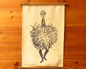 Vintage Tribal 1960s Papua New Guinea Duk-Duk Tolai Tribe Screen-printed Wall Hanging