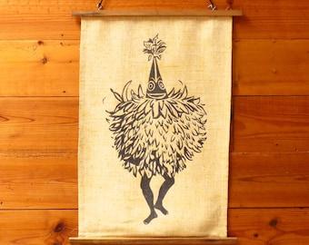 Vintage Tribal 1960s Papua New Guinea Duk-Duk Tolai Tribe Screen-printed Wall Hanging