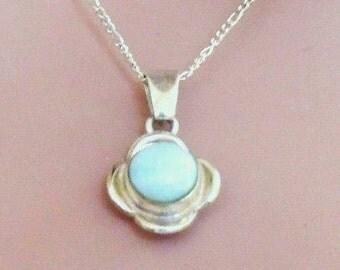 Larimar Gemstone Pendant, Sterling Silver Flower Pendant, Sterling Silver Chain,Fine Jewelry, Larima Necklace, Gifts for Her,Vintage Pendant