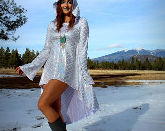 High-low fish scale dress OOAK long sleeve hood dress shiny silver gypsy winter