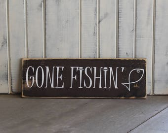 Wooden Lake Wall Hanging/Lake Themed Sign/Lake/Lake Gift/Lake Wall Decor/Cabin Decor/Gone Fishin'(brown background)/wall hanging sign