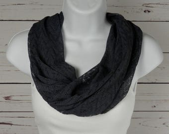 Dark Gray Infinity Scarf / Chevron Infinity Scarf / Gray Lace Knit Scarf / Single Loop Scarf by Thimbledoodle