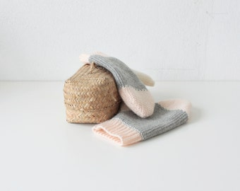 Wool winter gloves - handmade knitting grey, white and pink - pastel colors