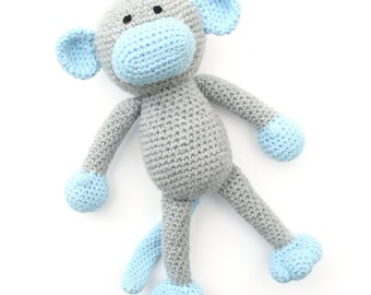 Miles the Crochet Monkey -  grey and blue - *READY TO SHIP*