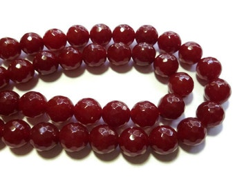 Ruby Red Jade - 12mm Faceted Round Bead - Full Strand - 31 beads - Scarlet Crimson Cherry