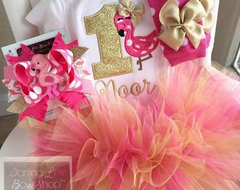FREE SHIPPING - Flamingo First Birthday Outfit in Hot Pink and Gold - Fancy Flamingo - bodysuit, leg warmers, tutu, bow in hot pink and gold