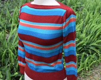 Striped Boatneck 1970s early 1980s Sweater Multicolor Stripes Hippie Boho Sweater Cinched Waist Knit Top