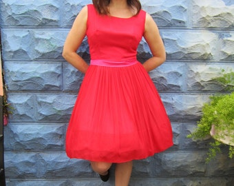 SALE with Coupon Code-1950's Red Silk Chiffon Party Dress