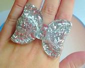 Kawaii Bow Ring - Silver, Glitter, Sparkle, Sweet Lolita, Statement, Anime, Fairy Kei