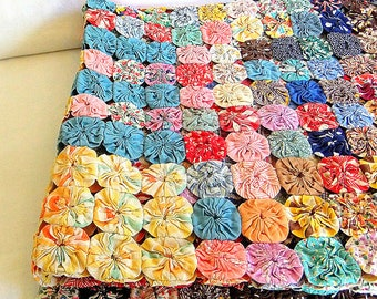 Vintage Handmade Yo Yo or Balloon Quilt - 38 x 70, Multicolored Coverlet, for Crafting, from the 1930s, Farmhouse style, Bright Colors