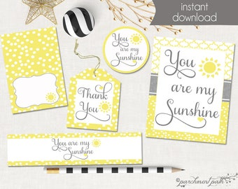 You Are My Sunshine Printable Party Set - Favor Tags, Party Sign, Cupcake Toppers, Water Labels- Instant Download - Baby Shower - Birthday