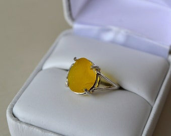 Size 6 Sterling Silver Yellow Seaglass Ring From Seaham Beach Sunderland