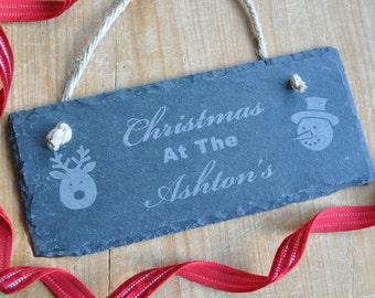 Personalised Christmas Slate Sign