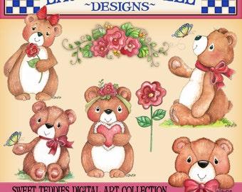 Teddy Bear Clip Art, Childrens Art, Laurie Furnell Art, Butterfly Clip Art, Watercolor ClipArt, Hand Drawn Clip Art, Card Making, Flower Art