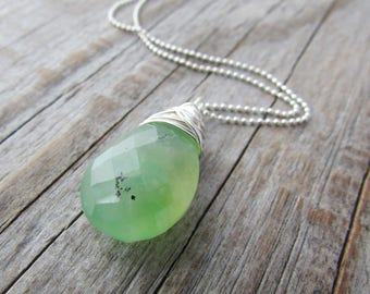Chrysoprase Pendant, wire wrapped necklace, with faceted green chrysoprase briolette
