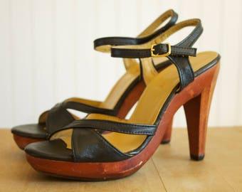 Vintage 1970's Black Cross Strap Peep Toe Ankle Strap Wooden Heeled Platform Sandals 7/7.5
