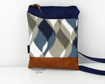ZOE Messenger Cross Body Sling Bag - Navy Denim with Finley Blue PU Leather READY to SHIp  Ipad bag