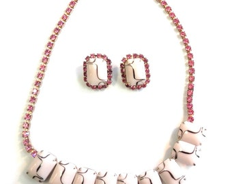 1950s Glass and Rhinestone Pink Chiclet Necklace and Matching Clip Earrings