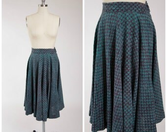1970s Vintage Skirt • This Rhythm • Blue Printed India Cotton 70s Skirt Size Small