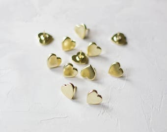 Gold Heart Metal Push Pins - 12 pc