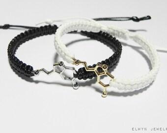 Couples Serotonin Bracelets, Matching Couple Bracelets, Chemistry, Molecule, Chemist Gift, Anniversary Gift, Boyfriend Gift, Girlfriend Gift