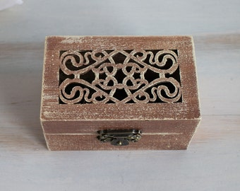 Brown wedding box Wedding ring box Ring bearer box Rustic ring box Wedding ring holder Engagement ring box Proposal ring box Lace ring box