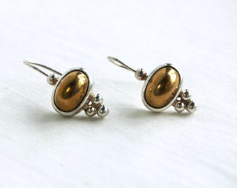Mixed Metal Drop Earrings Sterling Silver and Brass Dome Dangles Vintage Jewelry