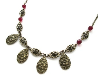 Flower charm necklace jewelry antique bronze brass flower necklace, red flower, oval charm, vintage victorian style, Czech red glass bead