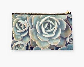 Succulent Zippered Pouch, Succulent Makeup Bag, Photo Pouch, Floral Accessory Bag, Large Zipper Pouch, Small Zipper Pouch, Travel Pouch