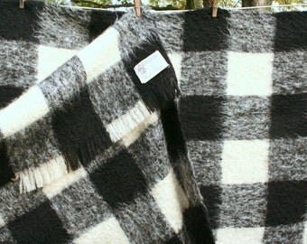 Plaid mohair blanket, vintage mohair blanket, black and white plaid
