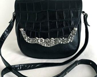 Vintage Glen Miller for Ann Turk Black Alligator and Leather Shoulder Bag