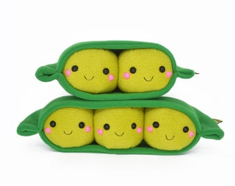 Peas in a pod  -  kawaii plushie - pillow cushion handmade in the uk soft cuddly soft toy softies plushies