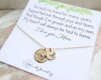 Mother of the Bride gift, Mother's necklace, mothers day gift, jewelry gift for mom from daughter, Otis B, Mama + baby bird, weddings