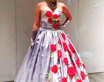 Safety Pin Tiara, silver crown with dark pink silk roses.
