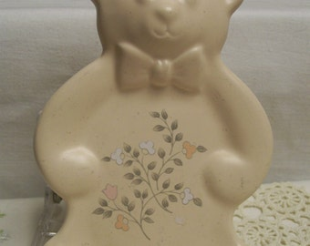 Pfaltzgraff  Remembrance Spoon Rest Teddy Bear RARE Teddy Bear Shape Vintage Floral Pattern Stove Top Utensil Spoon Rest