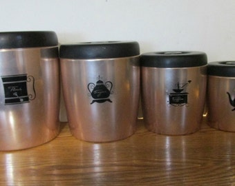 Kitchen Canisters, West Bend, Copper and Black, Canisters with Lids, Made in the USA, 50's Graphics, Storage Containers, Collectible