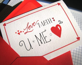 Geek I Love You Card - Math Nerd, Math Teacher Love Card, Anniversary Card