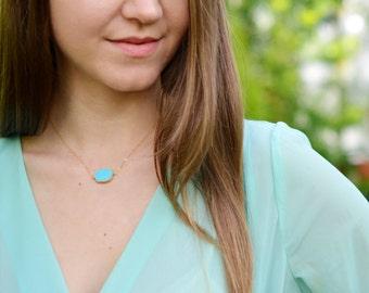 Turquoise Gold Necklace, Gold Turquoise Necklace, Gold Turquoise Pendant, Gold Filled Turquoise Slice