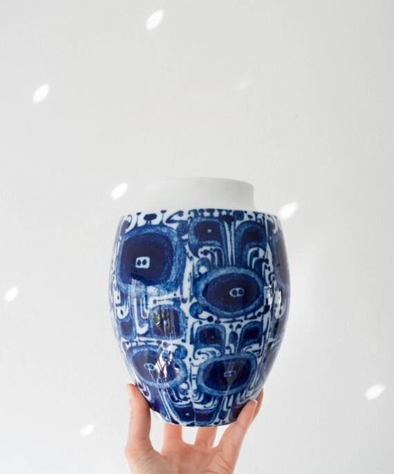 Modernist Glazed Indigo and White Porcelain Vase by Furstenburg // Bohemian Home Decor