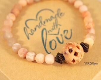 Earthy Beaded Bracelet, Agate Beaded Bracelet, Bohemian Rustic Bracelet, Beaded Stretchy Bracelet. OOAK Handmade Bracelet, Gemstone Bracelet
