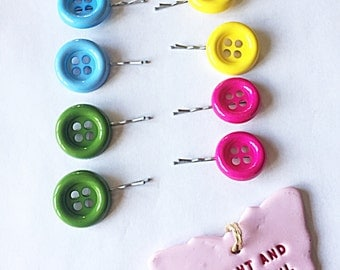 Button Hair Grips - Button Kirby Grips - Button Grips - Hair Slides - Hair Grips - Button Grips - Retro Grips - Gift For Her