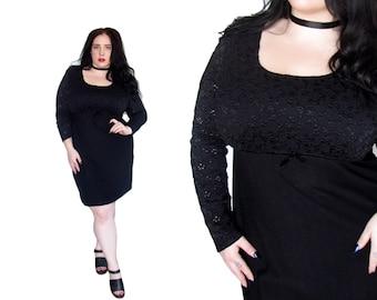 Plus Size Dress / Size 1X / Vintage 1990's Black Lace Dress